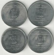 4 DIFFERENT 1 RUPEE COINS from INDIA (ALL 2010 with MINT MARKS of B/C/H/N)