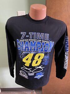 Jimmie Johnson #48 Nascar Men's Black Long Sleeve Shirt 7 Time Champion Large
