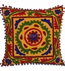 Suzani Embroidered Pillows Decorative Vintage Throw Pom Pom Indian Cushion Cover