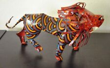 "African LION Sculpture Tin Metal LION ZIMBABWE Handpainted Folk Art 10.5""L VTG"