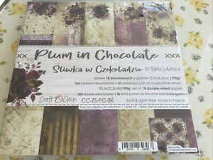 """8"""" X 8"""" Craft O'Clock Plum In Chocolate paperpad 3 X 6 Double-sided sheets 190g"""