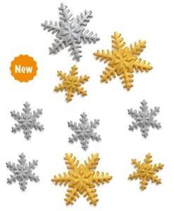DECORAZIONI IN ZUCCHERO DECORA SNOWFLAKES FIOCCHI DI NEVE 9 PEZZI NATALE FIOCCO