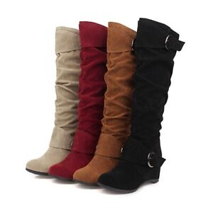 Womens Hidden Wedge Heel Round Toe Shoes Buckle Faux Suede Mid Calf Slouch Boots