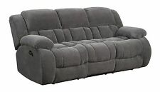 COZY CHARCOAL GREY TEXTURED FLEECE RECLINING MOTION SOFA LIVING ROOM FURNITURE