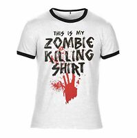 This is my zombie killing t shirt Dead the walking undead White & Black Ringer