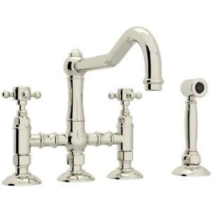 Rohl A1458XMWSPN-2 Acqui 3 Leg Bridge Kitchen Faucet Side Spray Polished Nickel