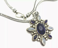 QVC Sterling Silver Large labradorite Amethyst Pendant Chain Necklace GIFT BOX