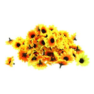 100pcs Fake Sunflower Silk Flower Artificial Floral Bouquet Home Wedding Decor