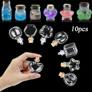 10Pcs Small Bottle Tiny Clear Empty Wishing Glass Message Vial With Cork Stopper