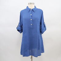 Match Point Tunic Shirt Blouse Womens 100% Linen Royal Blue S Small Lagenlook