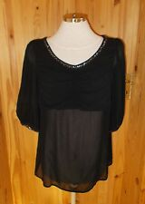 NEXT black chiffon short sleeve silver sequin tunic VICTORIANA kaftan top 12 40