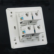 Wall Socket 4 Port Socket Network Ethernet LAN CAT 6 Panel Faceplat  RJ45