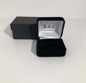 Kay Jewelers Empty Black Velvet Ring Box with presentation box