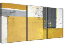 Mustard Yellow Grey Abstract Painting Canvas Print - 3 Set - 125cm Wide - 3340