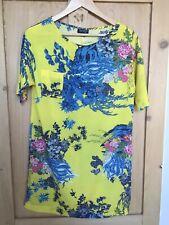 Patrón de color amarillo Topshop Vestido Túnica Azul 8 XS Mini Floral