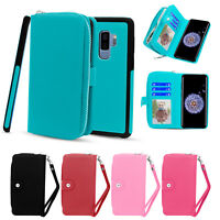 Detachable Leather Zipper Wallet case cover for Samsung Galaxy Note 8 S9 S9 Plus