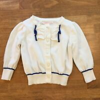 Janie and Jack White and Blue Button Cardigan Sweater Bow Baby Girls Sz 12 18 M