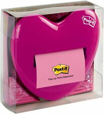 Post It Pop Up Notes Dispenser Heart Shape 3 X 3 Inch Notes Pink 1 Pad 50 Sheets