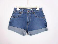 LEVIS #525 Womens Vtg Retro Denim High Waist Jeans Shorts Hot Pants sz W27 BA10
