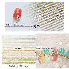 1Sheet 3D Nail Art Stickers Gold Silver Ultrathin Lines Decals Tip Manicure Tool