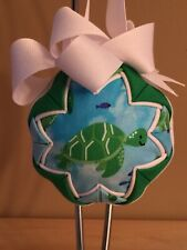 Fabric Quilted Ball Christmas Tree Ornament SEA TURTLE OCEAN BEACH Handmade OOAK