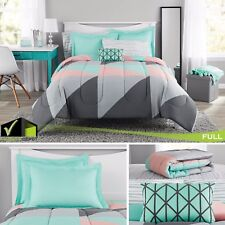 8 Pcs Bedding Set Gray And Teal Bed In A Bag Full Size Comforter Sheets Cases