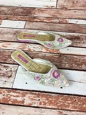 """REPORT Beaded Pink Floral Indian Inspired """"Dharma"""" Point Toe Slip On 6 1/2 Shoes"""