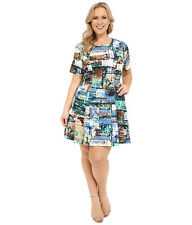 NEW NWT Karen Kane Plus Size Fall Winter Graphic A-Line Dress 0X (XL) USA Made