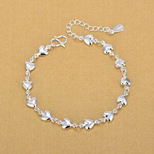 925 Silver Heart Love Beads Bracelet Bangle Chain Wedding Jewelry Women Gifts