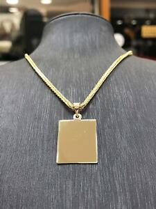 585 14ct Gold Dog Tag Pendant Free Picture Engraving Gift +14ct 2mm Franco Chain