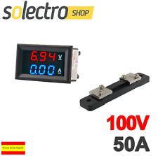 Voltimetro Amperimetro 100V 50A SHUNT Digital DC Rojo Azul voltmeter Panel M0075