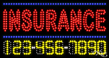 """NEW """"INSURANCE"""" 32x17 w/YOUR PHONE NUMBER SOLID/ANIMATED LED SIGN 25074"""