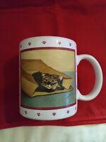 Vintage 1984 Lowell Herrero Vandor Mug ~ Cat Inside Brown Paper Bag