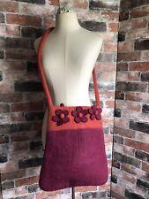 Handmade Pink Orange 100% Wool Felt Hobo Floral Messenger Shoulder Handbag Bag