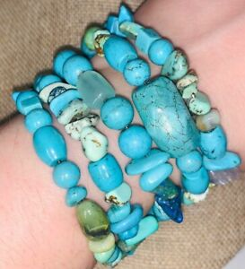Vintage REAL Turquoise & Gemstone/Stone Memory Wire Chunky Wrap Bracelet