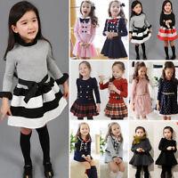 Kids Girls Princess Long Sleeve Tutu Skirt Dress Toddler Autumn Party Clothing
