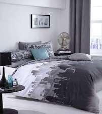 Single Black, Grey, White, Monotone City Scape Duvet Cover Set Urban Chic.