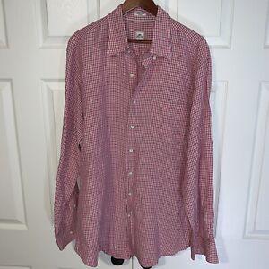 Peter Millar Mens Red Plaid Long Sleeve Button Up Shirt XL