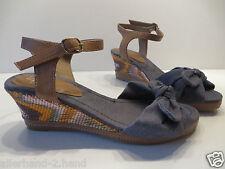 ANSEHEN # A7 schöne WEDGES Gr 39 blau Sisal Damen Schuhe Riemchen Sandalen Pumps