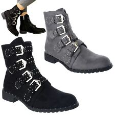 WOMENS BIKER BUCKLE STUDDED LADIES CHELSEA ANKLE BOOTS STRAPPY PUNK SHOES SIZE
