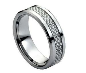 Tungsten Carbide Wedding Ring 8MM with Grey Carbon Fiber Inlay Low Beveled Edge
