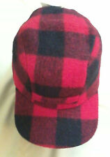 Red Plaid Wool Mackinaw Cap w/ Ear Flaps, Size 6-7/8, Langenberg, NEWMade in USA