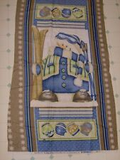 """snowman with skis holiday flannel panel 25"""" x 45"""" -"""