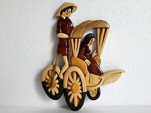Hand Carved Wood Art Intarsia Vietnam Tricycle Pedicab-Sign Plaque-Wall Hanging