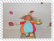 ♪ - Doudou Poupée Lutin Clown Arlequin Grenadine  Chapeau  Grelot Corolle