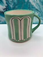 Anthropologie Monogram Letter M Hand Painted Initial Blue Coffee Mug Cup 14 oz