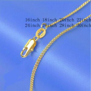 1Pc 16-18-20-22-24-26-28-30inch 18K Yellow Gold Filled Flat Curb Chain Necklaces