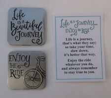p LIFE IS A JOURNEY Enjoy the ride POCKET TOKEN CHARM bicycle cyclist bike Ganz