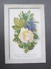 Antique Christmas Card My Hopes I Send Warm & True Rose Violets Victorian Chromo