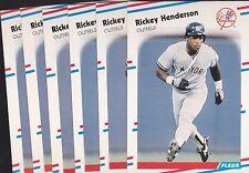 1988 FLEER BASEBALL LOT (6) RICKEY HENDERSON #209 YANKEES NMMT/MINT *L2177